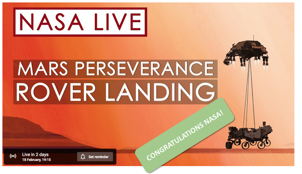 Perseverance Mars mission landing countdown